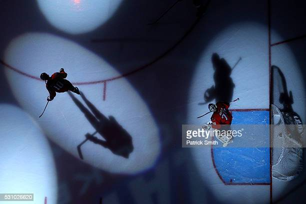 Goalie Braden Holtby of the Washington Capitals looks on before playing against the Pittsburgh Penguins in Game Five of the Eastern Conference Second...