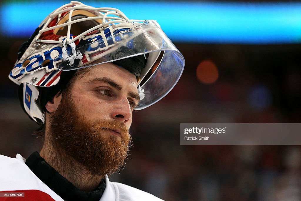 Goalie Braden Holtby #70 of the Washington Capitals looks on during the third period against the Buffalo Sabres at Verizon Center on December 30, 2015 in Washington, DC. The Washington Capitals won, 5-2.