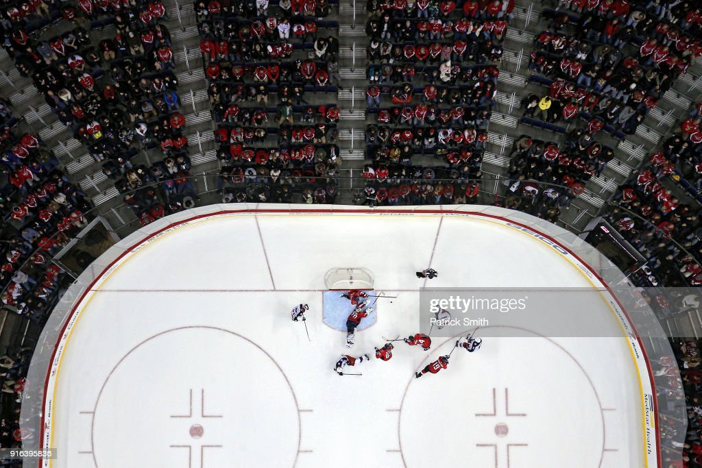 Goalie Braden Holtby #70 of the Washington Capitals makes a save against the Columbus Blue Jackets during the second period at Capital One Arena on February 9, 2018 in Washington, DC.