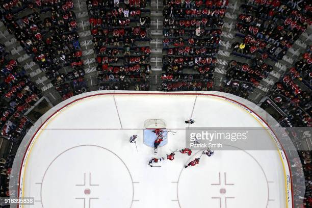 Goalie Braden Holtby of the Washington Capitals makes a save against the Columbus Blue Jackets during the second period at Capital One Arena on...