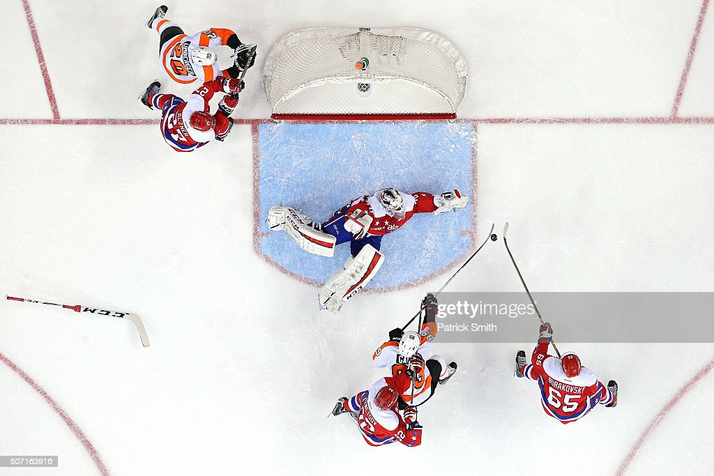 Goalie Braden Holtby #70 of the Washington Capitals makes a save on Sam Gagner #89 of the Philadelphia Flyers in the second period at Verizon Center on January 27, 2016 in Washington, DC. The Philadelphia Flyers won, 4-3, in overtime.