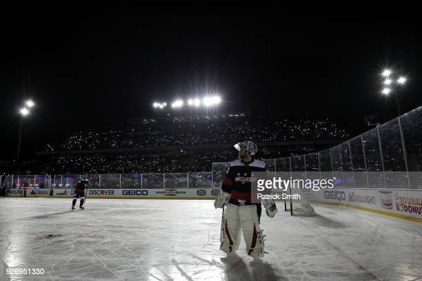 Goalie Braden Holtby of the Washington Capitals skates during a power outage delay against the Toronto Maple Leafs during the third period in the...