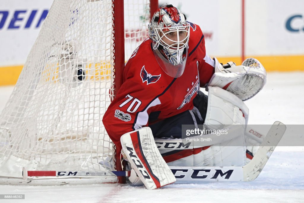 Goalie Braden Holtby #70 of the Washington Capitals tends the net against the Chicago Blackhawks during the third period at Capital One Arena on December 06, 2017 in Washington, DC.