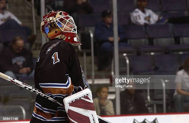 Goalie Brent Johnson of the New York Islanders looks on during a game against the Washington Capitals at the MCI Center on October 00 2005 in...