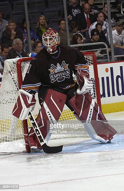 Goalie Brent Johnson of the New York Islanders stands on the crease as he follows the action during a game against the Washington Capitals at the MCI...