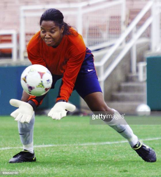 Goalie Briana Scurry of the US women's soccer team practices stopping shots during practice at the Rose Bowl 09 July 1999 in preparation for the...
