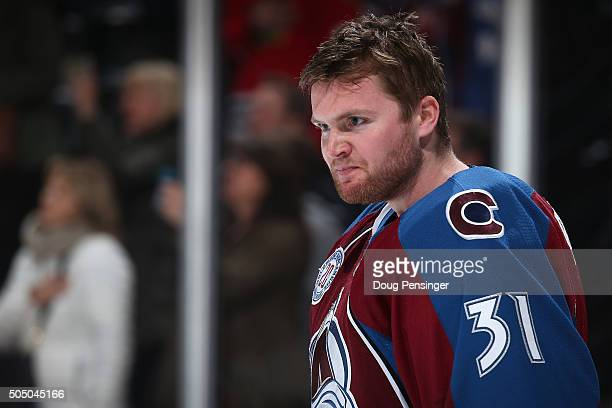 Goalie Calvin Pickard of the Colorado Avalanche looks on as he prepares to face the New Jersey Devils at Pepsi Center on January 14 2016 in Denver...