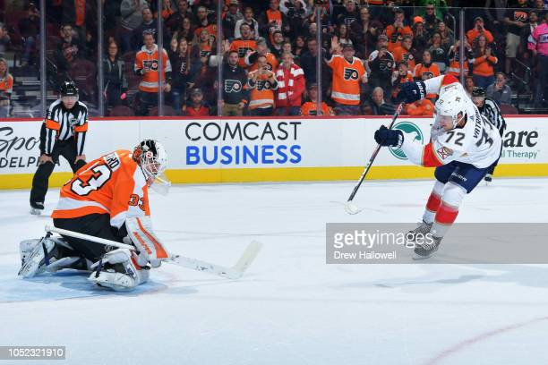 Goalie Calvin Pickard of the Philadelphia Flyers makes a save on a shot by Frank Vatrano of the Florida Panthers during a shootout at the Wells Fargo...