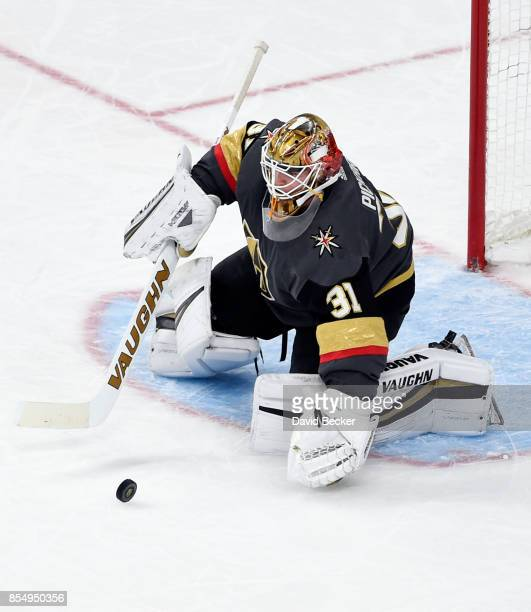 Goalie Calvin Pickard of the Vegas Golden Knights blocks a shot on goal against Los Angeles Kings during a preseason game at TMobile Arena on...