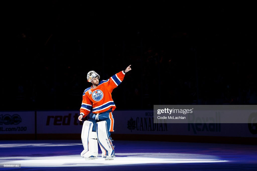 Goalie Cam Talbot #33 of the Edmonton Oilers acknowledges the crowd after being named second star of the game against the San Jose Sharks in Game Two of the Western Conference First Round during the 2017 NHL Stanley Cup Playoffs at Rogers Place on April 14, 2017 in Edmonton, Alberta, Canada.