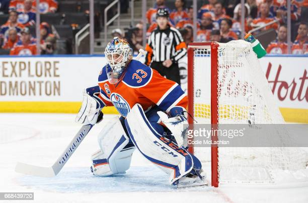 Goalie Cam Talbot of the Edmonton Oilers defends the net against the San Jose Sharks in Game One of the Western Conference First Round during the...