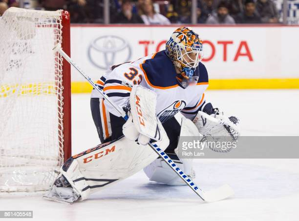 Goalie Cam Talbot of the Edmonton Oilers gets ready for a shot in NHL action against the Vancouver Canucks on October 7 2017 at Rogers Arena in...