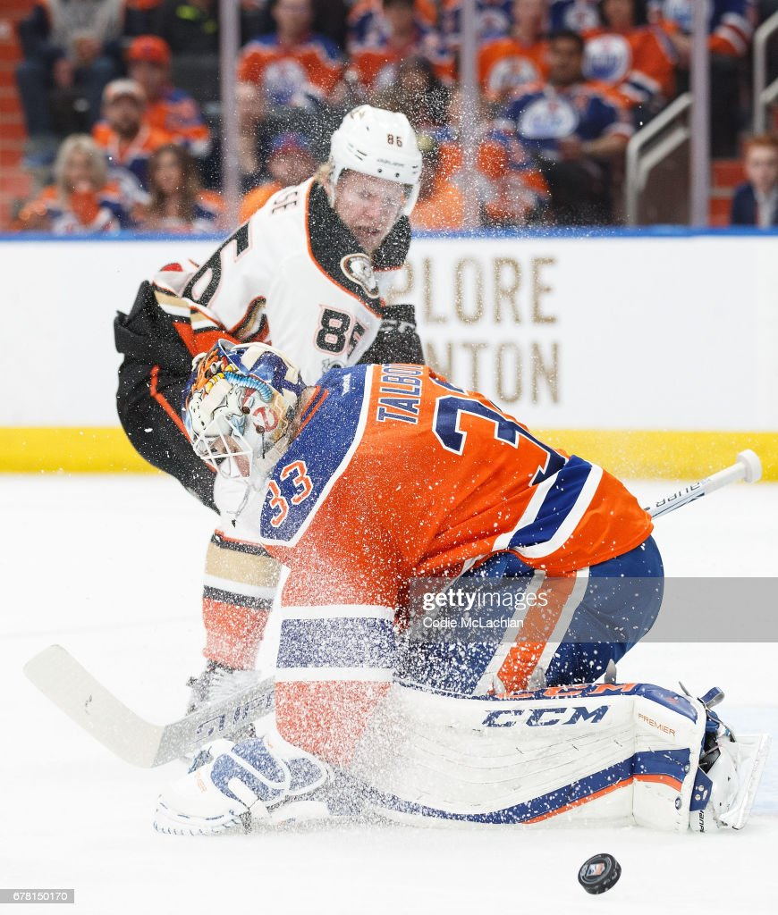 Goalie Cam Talbot #33 of the Edmonton Oilers makes a save against Ondrej Kase #86 of the Anaheim Ducks in Game Four of the Western Conference Second Round during the 2017 NHL Stanley Cup Playoffs at Rogers Place on May 3, 2017 in Edmonton, Alberta, Canada.