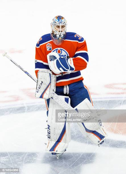 Goalie Cam Talbot of the Edmonton Oilers warms up against the Anaheim Ducks in Game Three of the Western Conference Second Round during the 2017 NHL...