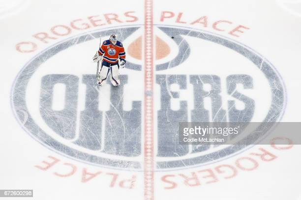 Goalie Cam Talbot of the Edmonton Oilers warms up against the San Jose Sharks in Game Five of the Western Conference First Round during the 2017 NHL...
