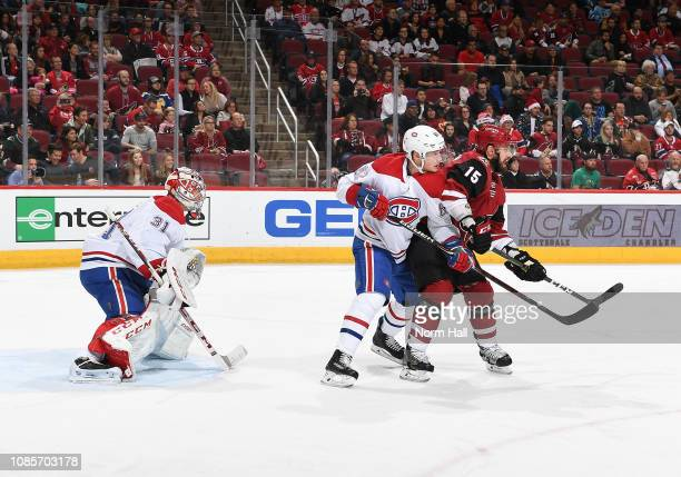 Goalie Carey Price of the Montreal Canadiens looks to make a save as teammate Artturi Lehkonen battles for position with Brad Richardson of the...