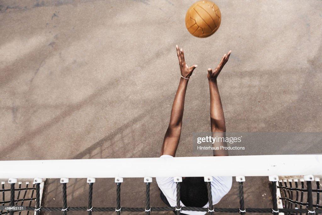 Goalie Catching Soccer Ball : Stock Photo
