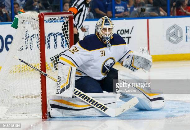Goalie Chad Johnson of the Buffalo Sabres skates against the Tampa Bay Lightning at Amalie Arena on April 6 2018 in Tampa Florida n