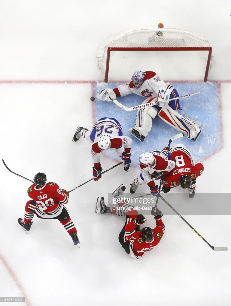 Goalie Charlie Lindgren #39 of the Montreal Canadiens reaches for the puck during the game against the Chicago Blackhawks at the United Center on November 5, 2017 in Chicago, Illinois. The Montreal Canadiens defeated the Chicago Blackhawks 2-0.