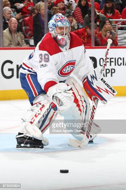Goalie Charlie Lindgren of the Montreal Canadiens watches the puck in the second period against the Chicago Blackhawks at the United Center on...