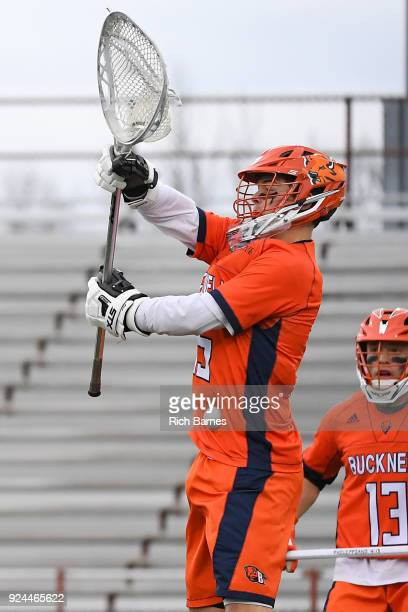 Goalie Christian Klipstein of the Bucknell Bison makes a save against the Colgate Raiders during the second half at Andy Kerr Stadium on February 24...