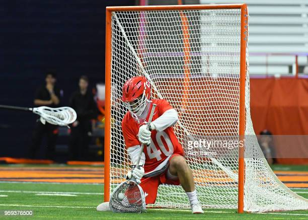 Goalie Christian Knight of the Cornell Big Red makes a save against the Syracuse Orange during a 2018 NCAA Division I Men's Lacrosse Championship...