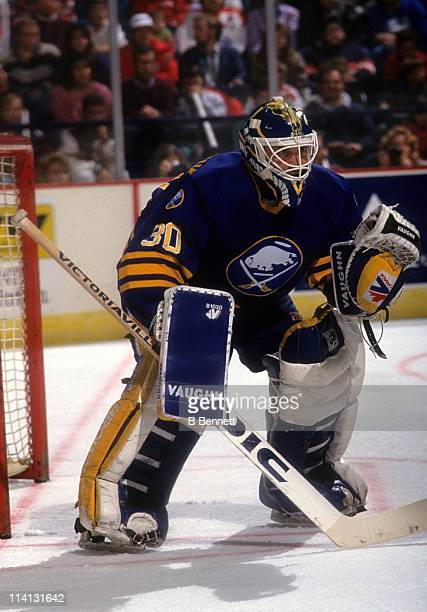 Goalie Clint Malarchuk of the Buffalo Sabres defends the net during an NHL game against the Washington Capitals on November 10, 1990 at the Capital...