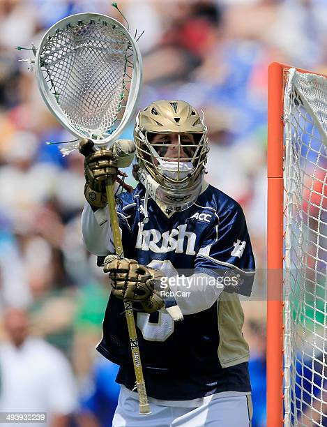 Goalie Conor Kelly of the Notre Dame Fighting Irish follows the ball against the Duke Blue Devils in the first half of the 2014 NCAA Division I Men's...