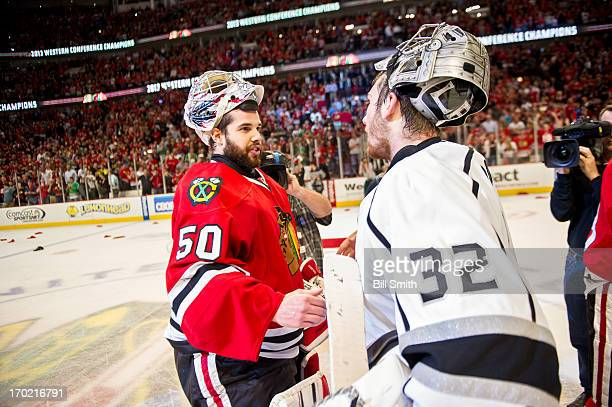 Goalie Corey Crawford of the Chicago Blackhawks and goalie Jonathan Quick of the Los Angeles Kings shake hands after the Blackhawks defeated the...