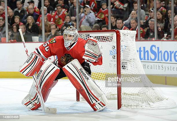 Goalie Corey Crawford of the Chicago Blackhawks guards the net during Game Six of the Western Conference Quarterfinals against the Phoenix Coyotes...