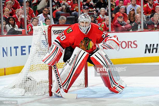 Goalie Corey Crawford of the Chicago Blackhawks guards the net in Game One of the Western Conference Final against the Los Angeles Kings during the...