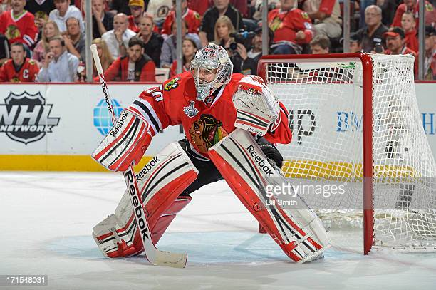 Goalie Corey Crawford of the Chicago Blackhawks guards the net in Game Five of the Stanley Cup Final against the Boston Bruins at the United Center...