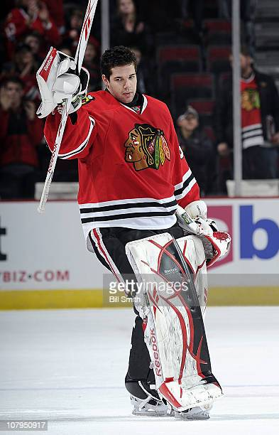 Goalie Corey Crawford of the Chicago Blackhawks is named number one player of the game after having 29 saves in the 5 to 0 shut out win against the...
