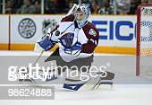 Goalie Craig Anderson of the Colorado Avalanche blocks a shot against the San Jose Sharks in the first period of Game Five of their Western...