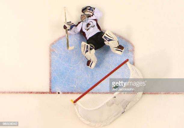 Goalie Craig Anderson of the Colorado Avalanche lies on the ice against the San Jose Sharks in Game Two of the Western Conference Quarterfinals...