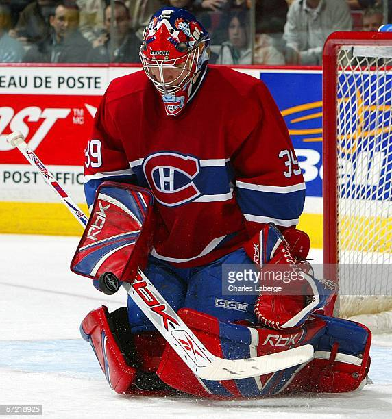 Goalie Cristobal Huet of the Montreal Canadiens makes a save against the Washington Capitals at the Bell Centre March 30 2006 in Montreal Canada