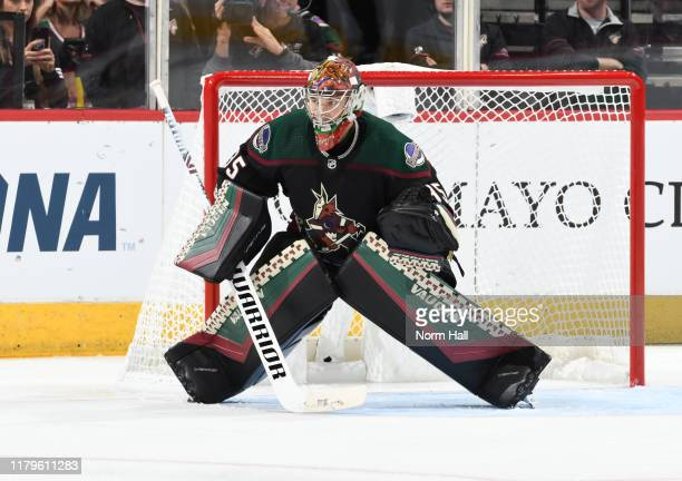 Goalie Darcy Kuemper of the Arizona Coyotes gets ready to make a save against the Boston Bruins at Gila River Arena on October 05, 2019 in Glendale,...