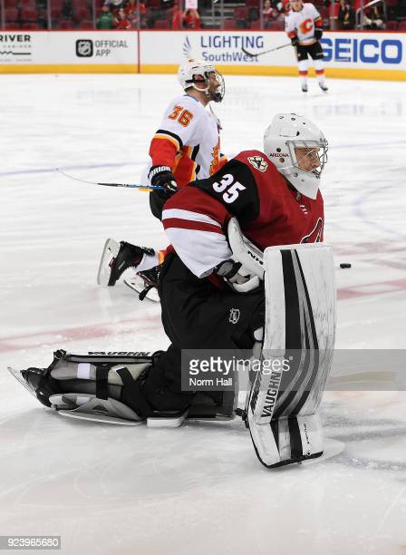 Goalie Darcy Kuemper of the Arizona Coyotes warms up prior to a game against the Calgary Flames at Gila River Arena on February 22 2018 in Glendale...