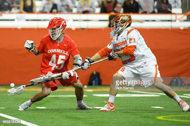 Goalie Dom Madonna of the Syracuse Orange checks the ball from the stick of Clarke Petterson of the Cornell Big Red during a 2018 NCAA Division I...