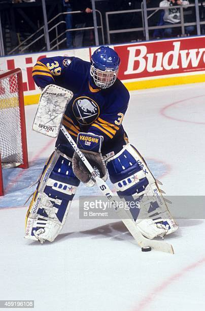 Goalie Dominik Hasek of the Buffalo Sabres handles the puck during an NHL game against the New York Rangers circa 1994 at the Madison Square Garden...