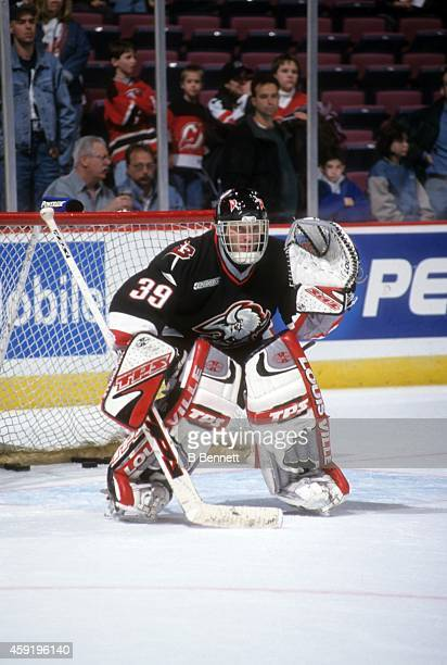 Goalie Dominik Hasek of the Buffalo Sabres warms-up before an NHL game against the New Jersey Devils on April 6, 2000 at the Continental Airlines...