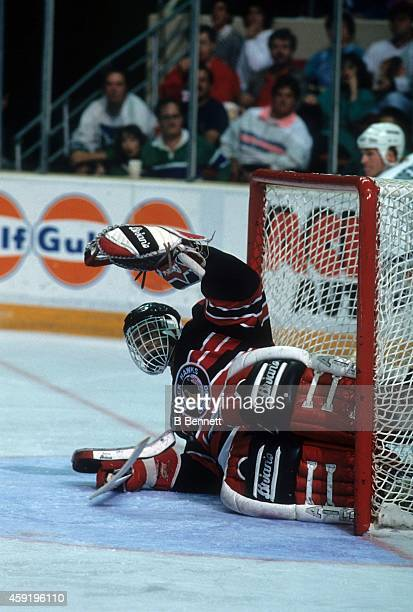 Goalie Dominik Hasek of the Chicago Blackhawks defends the net during an NHL game against the Hartford Whalers on October 26, 1991 at the Hartford...