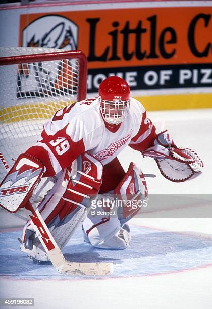 Goalie Dominik Hasek of the Detroit Red Wings defends the net during an NHL game in circa 2002 at the Joe Louis Arena in Detroit, Michigan.