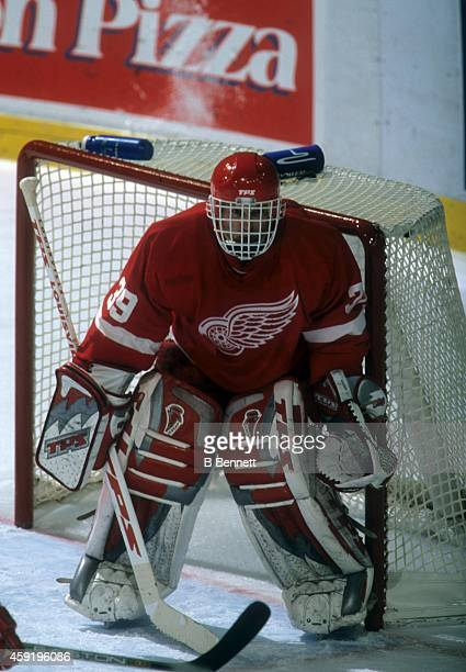 Goalie Dominik Hasek of the Detroit Red Wings defends the net during an NHL game against the Calgary Flames on January 30, 2002 at the Saddledome in...