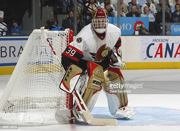 Goalie Dominik Hasek of the Ottawa Senators readies for the play against the Toronto Maple Leafs at the Air Canada Centre October 5, 2005 in Toronto,...