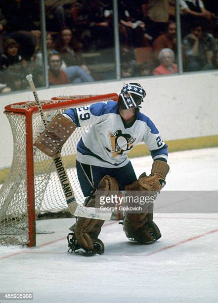 Goalie Dunc Wilson of the Pittsburgh Penguins defends the goal during a National Hockey League game at the Civic Arena in 1976 in Pittsburgh...
