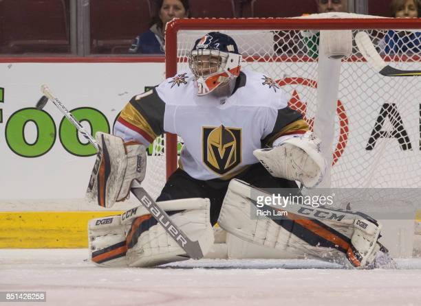 Goalie Dylan Ferguson of the Vegas Golden Knights before a game against the Vancouver Canucks in NHL preseason action on September 17 2017 at Rogers...