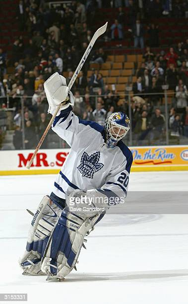 Goalie Ed Belfour of the Toronto Maple Leafs celebrates during the game against the Boston Bruins at Air Canada Centre on March 2 2004 in Toronto...