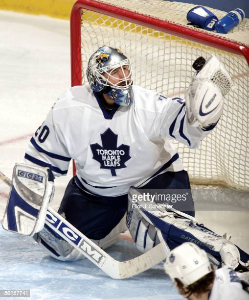 Goalie Ed Belfour of the Toronto Maple Leafs makes a save against the Florida Panthers in secondperiod NHL action at the Bank Atlantic Center...