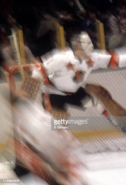 Goalie Ed Giacomin of the New York Rangers and Team East makes the save during the 26th NHL AllStar Game against the Team West AllStars on January 30...